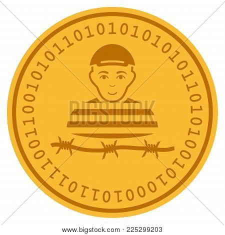 Camp Prisoner golden digital coin icon. Vector style is a gold yellow flat coin cryptocurrency symbol.