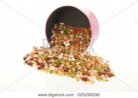 All sort of legumes isolated over white background