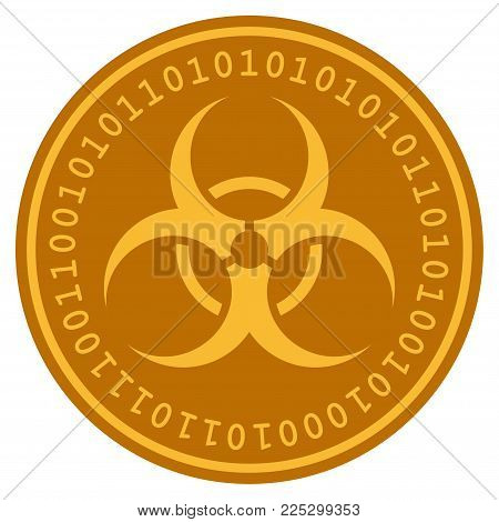 Biohazard golden digital coin icon. Vector style is a gold yellow flat coin cryptocurrency symbol.