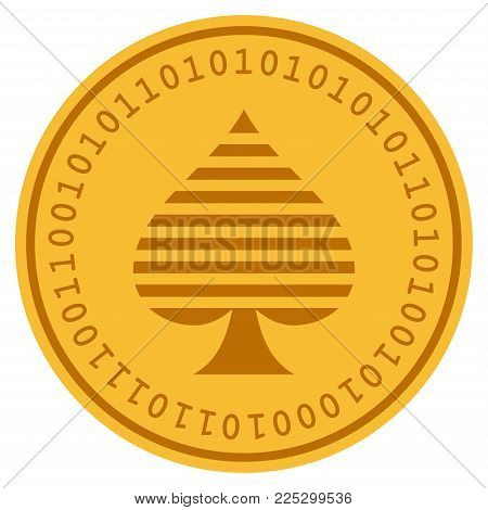 Peaks Suit golden digital coin icon. Vector style is a gold yellow flat coin cryptocurrency symbol.