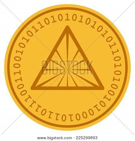 Pyramid golden digital coin icon. Vector style is a gold yellow flat coin cryptocurrency symbol.