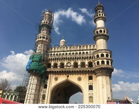 HYDERABAD, INDIA - NOV 17: Charminar in Hyderabad in Andhra Pradesh, India, as seen on Nov 17, 2017.