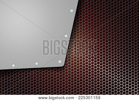 abstract geometric background, mesh grille with metal corner and bolts