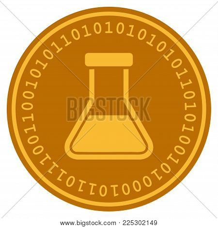 Liquid Flask golden digital coin icon. Vector style is a gold yellow flat coin cryptocurrency symbol.