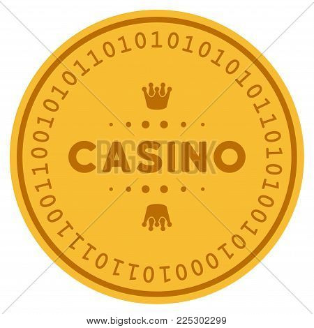 Casino Caption golden digital coin icon. Vector style is a gold yellow flat coin cryptocurrency symbol.