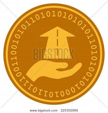 Future Care Hand golden digital coin icon. Vector style is a gold yellow flat coin cryptocurrency symbol.