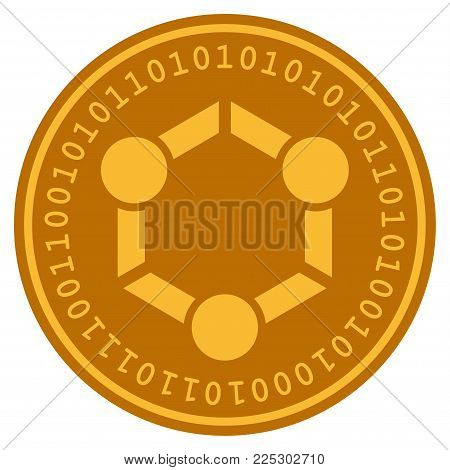 Human Union golden digital coin icon. Vector style is a gold yellow flat coin cryptocurrency symbol.