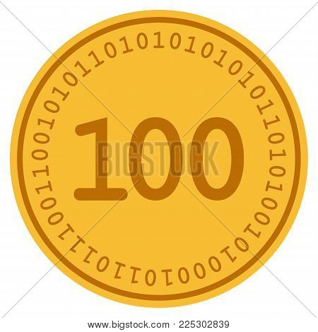 One Hundred golden digital coin icon. Vector style is a gold yellow flat coin cryptocurrency symbol.