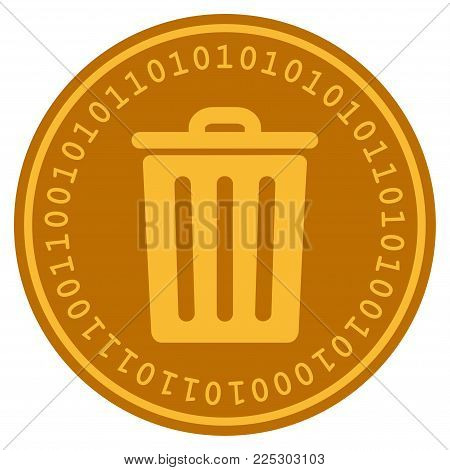 Dustbin golden digital coin icon. Vector style is a gold yellow flat coin cryptocurrency symbol.