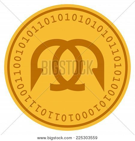 Clew golden digital coin icon. Vector style is a gold yellow flat coin cryptocurrency symbol.