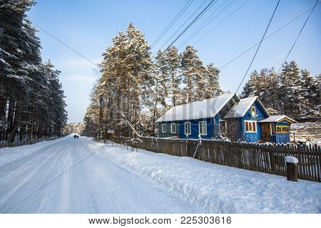 Typical houses in the urban-type settlement in Leningrad oblast at winter, Russia.