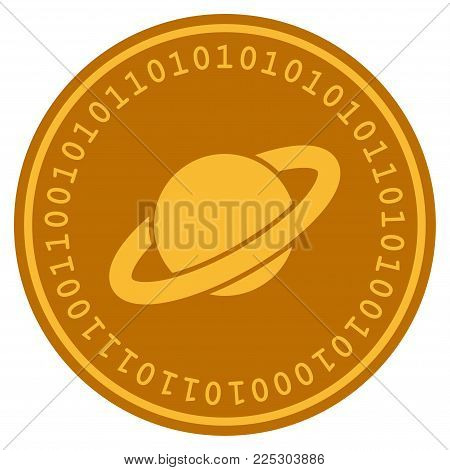 Planet Saturn golden digital coin icon. Vector style is a gold yellow flat coin cryptocurrency symbol.