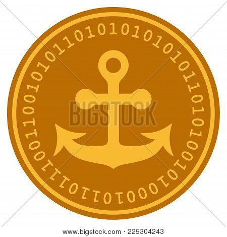 Anchor golden digital coin icon. Vector style is a gold yellow flat coin cryptocurrency symbol.