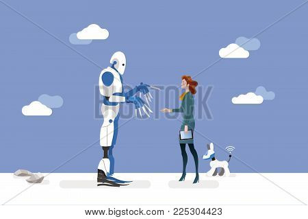 vector illustration about artificial intelligence and his risks.  A businesswoman offers his hand to a big dangerous robot.