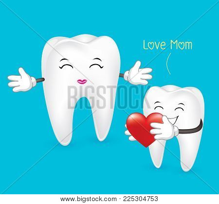 Mom Tooth. I Love Mom, Dental Concept. Illustration Isolated On Blue Background.