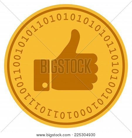 Thumb Up golden digital coin icon. Vector style is a gold yellow flat coin cryptocurrency symbol.