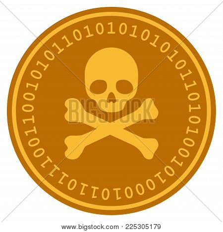 Skull And Crossbones golden digital coin icon. Vector style is a gold yellow flat coin cryptocurrency symbol.