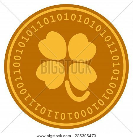 Four-Leafed Clover golden digital coin icon. Vector style is a gold yellow flat coin cryptocurrency symbol.