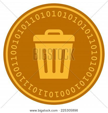 Trash Can golden digital coin icon. Vector style is a gold yellow flat coin cryptocurrency symbol.
