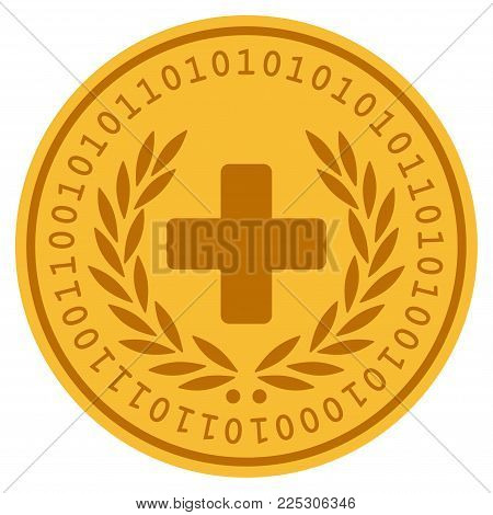 Medical Glory golden digital coin icon. Vector style is a gold yellow flat coin cryptocurrency symbol.