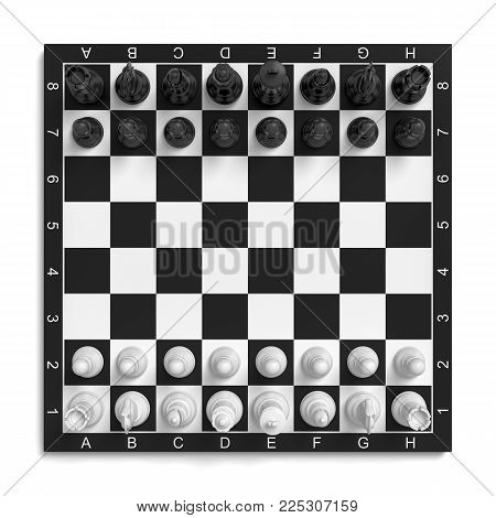 3d rendering of a chess board with a full set of figures in the starting position. Board games. Business and life. Logic and smarts.