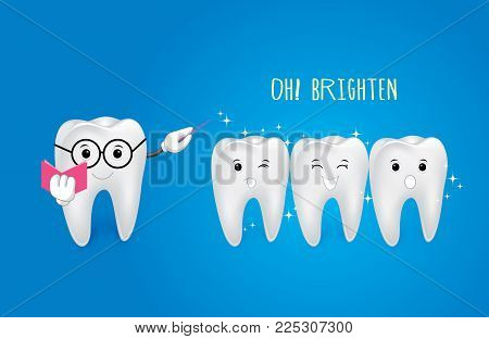 Cartoon Tooth With Magic Wand, Great For Dental Care. Brighten Concept