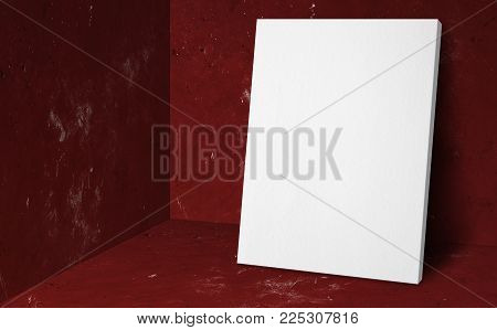 Blank poster at corner red studio room with concrete wall and floor background,Mock up studio room for display or montage of product for advertising on media,Business presentation.3d rendering