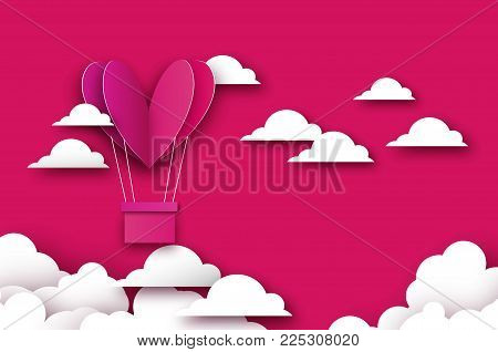 Heart shape Pink hot air balloon flying. Love in paper cut style. Origami Valentine day. Romantic Holidays. 14 February. Be my valentine. Blue sky with origami clouds on pink. Vector
