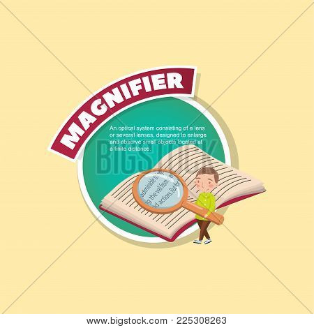 Magnifier glass tool description, little boy reading a book with a magnifying glass, creative poster with text vector illustration, web design