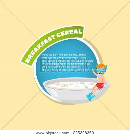 Breakfast cereal description, boy in diving mask sitting on the edge of a giant bowl with breakfast cereal in milk creative poster with text vector illustration, web design