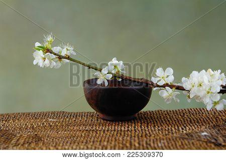 Cherry flower on wooden bowl on mat