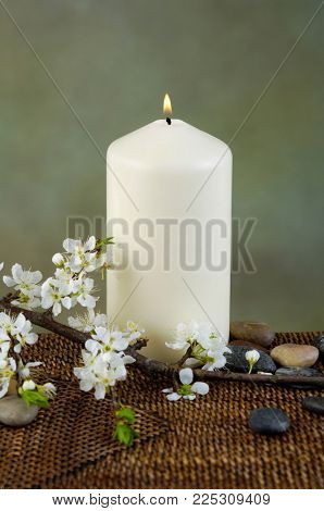 Spa resort with candle,stones , cherry flower