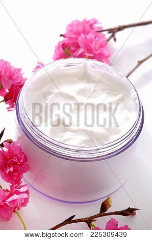 Blooming cherry with cream isolated