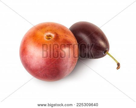 Cherry plum and plum with green tail. Fresh fruit closeup, isolated on white background. Berry of plum.