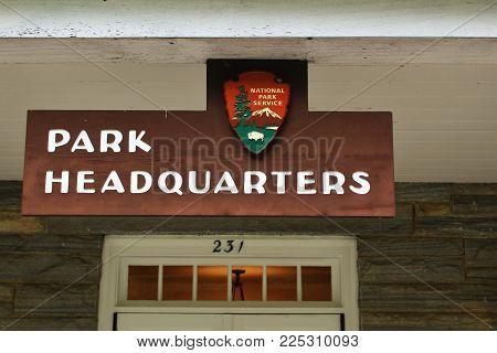 Smokey Mountains, Tennessee- September 13, 2017- Park Headquarters Outside Gatlinburg.