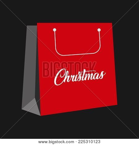 christmas items . Red cristmas paper bag. Vector illustration