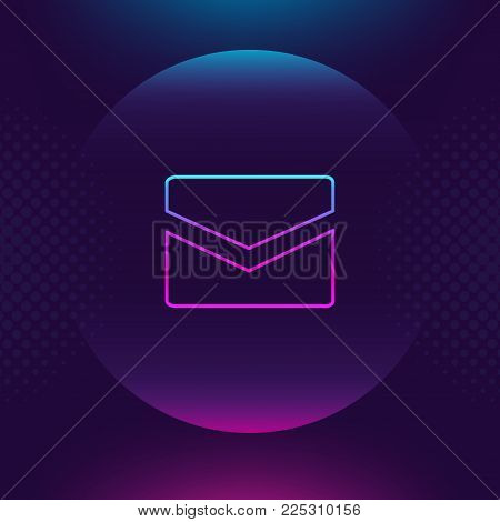 Mail neon outline icon. Message email luminous thin button. Contact outline logo. Ultra violet color. Trendy style design element for graphic and web design, logo, mobile app, website social media, UI