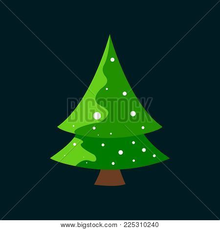 Christmas tree decorated with snow flakes. Vector on a black background