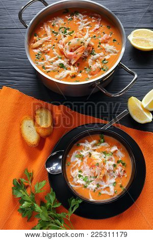 Seafood  Bisque Or Thick Soup, Top View