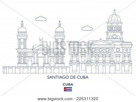 Santiago De Cuba Linear City Skyline, Cuba