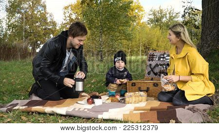 Young family with son at a picnic in the park on a sunny day.Family having picnic outdoors.Cute family picnicking in the park.