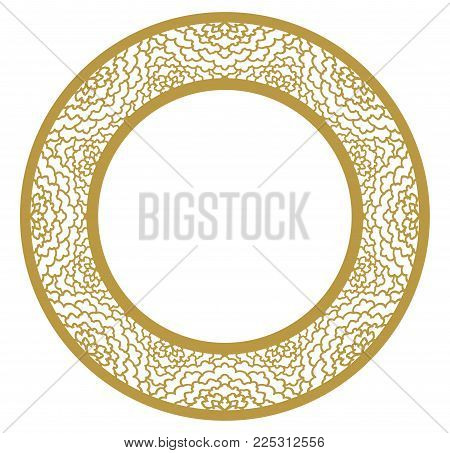 Vector Stencil lacy round frame with carved openwork pattern. Template for interior design, layouts wedding invitations, gritting cards, envelopes, decorative art objects etc.