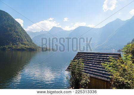 Landscape Of Mountain Houses In Hallstatt Salzkammergut