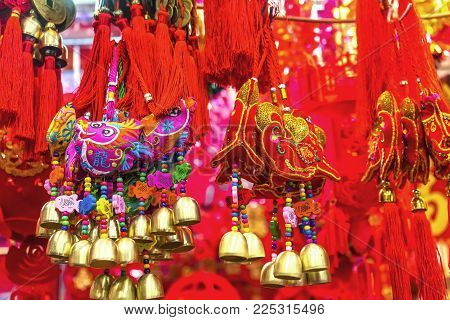 Red Ancient Dogs Dragons Money Chinese Lunar New Year Decorations Beijing China.  2018 Year Of The D