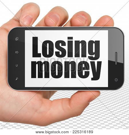 Currency concept: Hand Holding Smartphone with black text Losing Money on display, 3D rendering