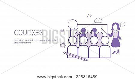 Training Courses Education Business Concept Template Web Banner With Copy Space Vector Illustration