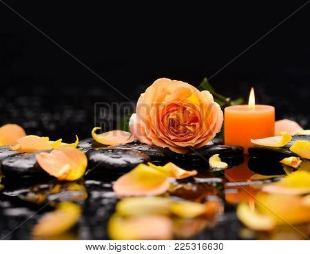 Orange candle light , orange rose petals and therapy stones