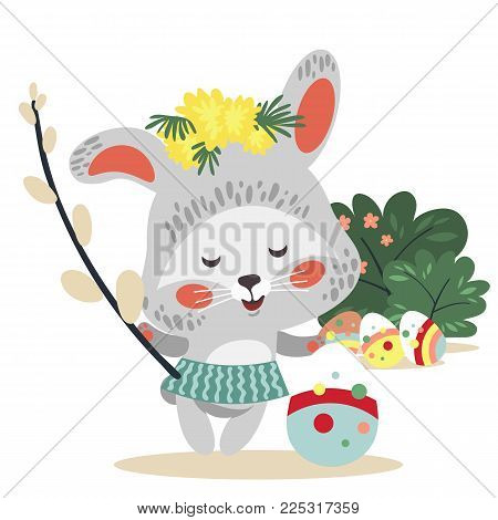 Easter baby bunny in wreath of dandelions holding big decorated egg and willow branch, isolated whire rabbit with ears hunting eggs vector illustration card.