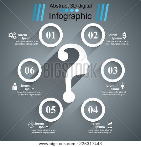 Question, head - flat business infographic Vector eps 10