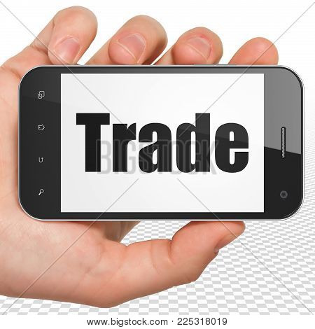 Finance concept: Hand Holding Smartphone with black text Trade on display, 3D rendering